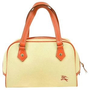 Burberry London Leather Beige Orange Prorsum Shoulder Bag