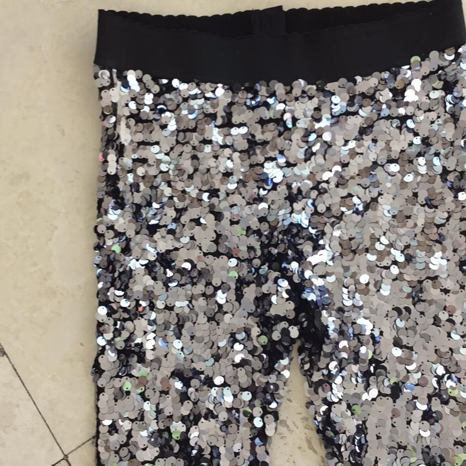f2eeb1fc463d27 Dolce&Gabbana Silver Sequined Leggings Size 10 (M, 31) - Tradesy