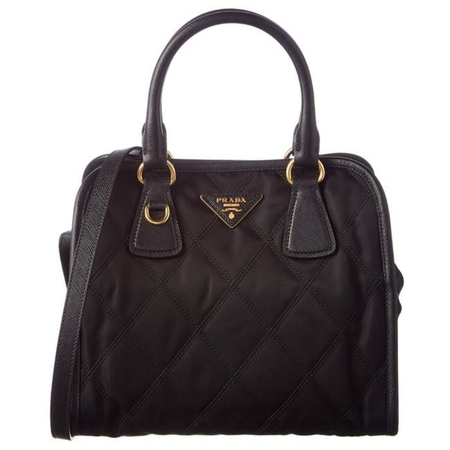 Prada Quilted Black Nylon and Leather (Strap) Cross Body Bag Prada Quilted Black Nylon and Leather (Strap) Cross Body Bag Image 1