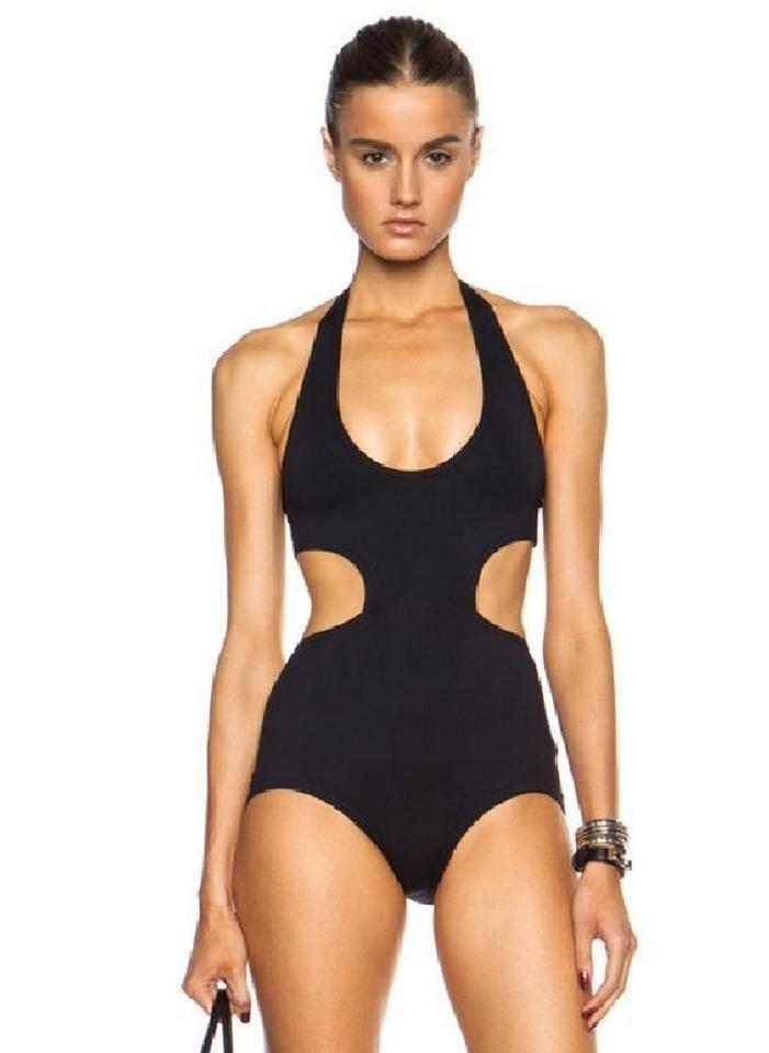 65e3d5f15c2 Proenza Schouler Black Halter Neck Cutout Swimsuit One-piece Bathing Suit