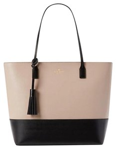 Kate Spade Leather Large Leather Tassel Two-tone Work Tote in Black