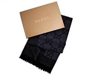 Gucci New Gucci Black Gray Wool/Cashmere Monogram Throw Blanket