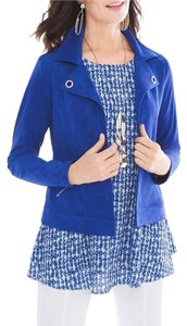 Chico's Royal Cobalt Suede Moto Soft Motorcycle Jacket