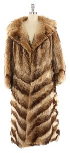 Chevron Striped Fur Fur Coat