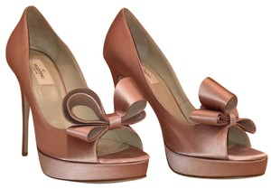 Valentino New Bow Wedding Silk Satin Pale Pink Platforms