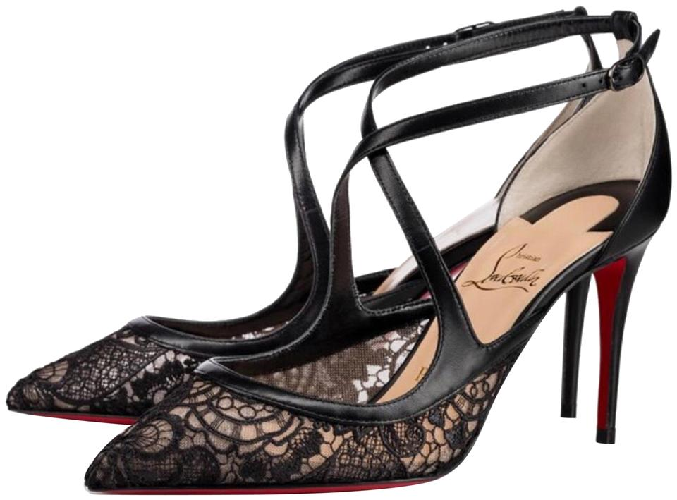 e08629a57f83 Christian Louboutin Black Twistissima Lace Leather Stiletto Pumps ...