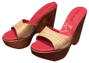 Charles David Tweed Platform Wood Pink multi Wedges