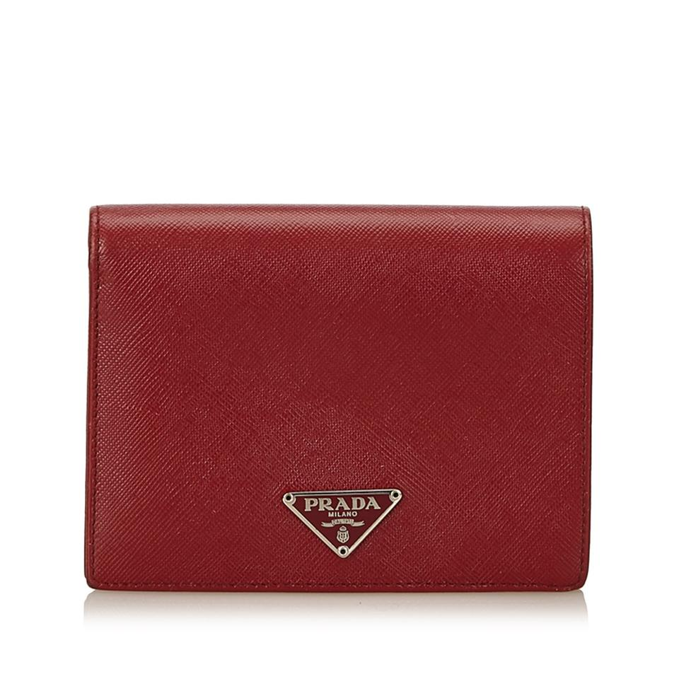 8c4b1c8fa3c0 Prada Small Wallet Red. Authentic Prada Small Red Leather Wallet Purse on  Tradesy