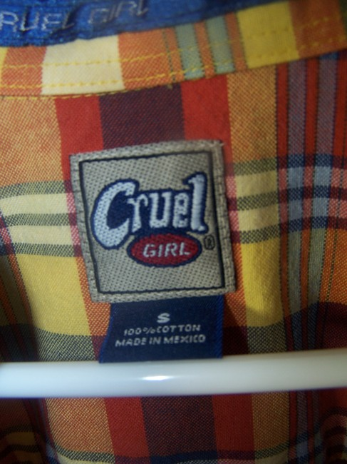 Cruel Girl Button Down Shirt red orange yellow gray plaid