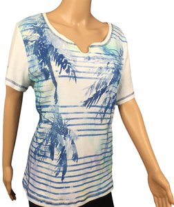 Karen Scott T Shirt White Blue