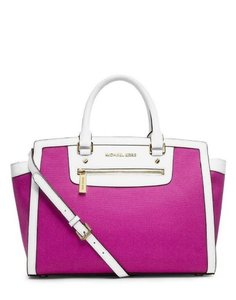 Michael Kors Color Block Colorblock Two Tone Convertible Tote Satchel in Fuchsia Hot Deep Pink