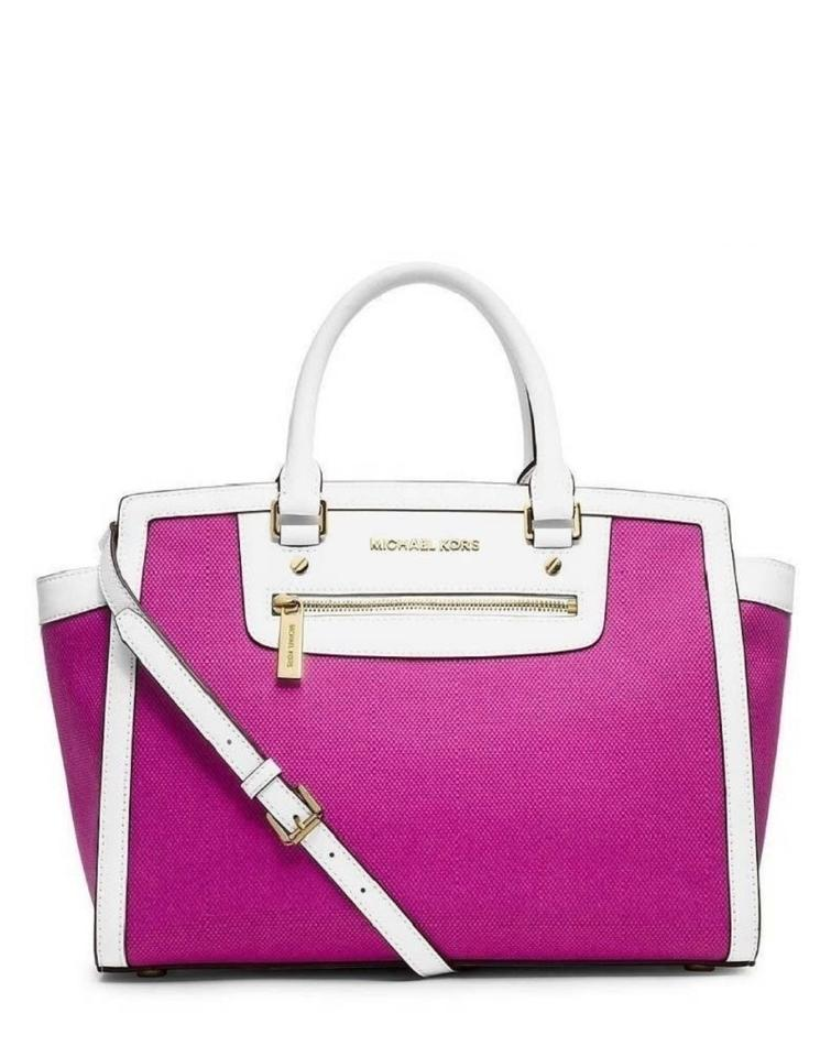Michael Kors Shoulder Bag Selma Large Fuchsia Hot Deep Pink Canvas With Leather Trim Satchel 46 Off Retail