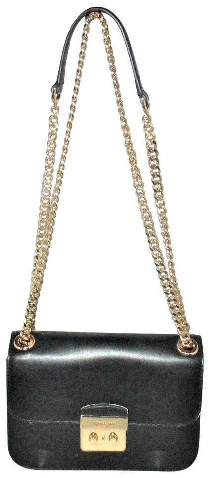 25d8b03d4877 Michael Kors Sloan Editor Medium Chain Cross-body Messenger Black Leather  Shoulder Bag