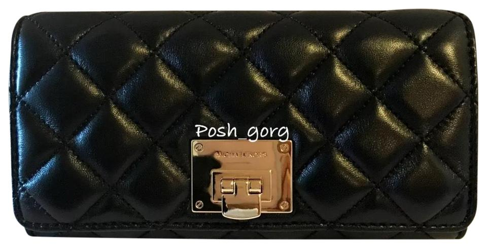 e1f286971e0752 Michael Kors Michael Kors Soft Quilted Leather Astrid Carryall Wallet In  Black/gold Image 0 ...