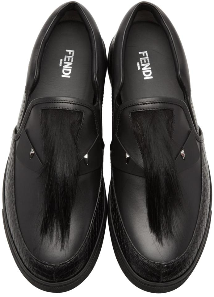Fendi Black Men s Bag Bugs with Real Fox Fur Slipon Sneakers Flats ... 2dcde22e0