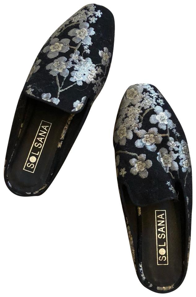 37f4974a0 Sol Sana Black Rocco Loafer Slide In Floral Flats Size EU 38 (Approx ...
