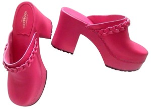 swedish hasbeens Leather Bright Pink Mules