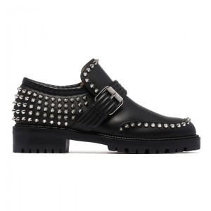 Christian Louboutin Spike Studded Madame Mix Loafer Booties Black Flats