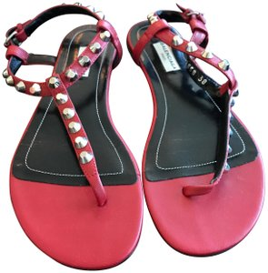 Balenciaga Studded Leather Flat red Sandals