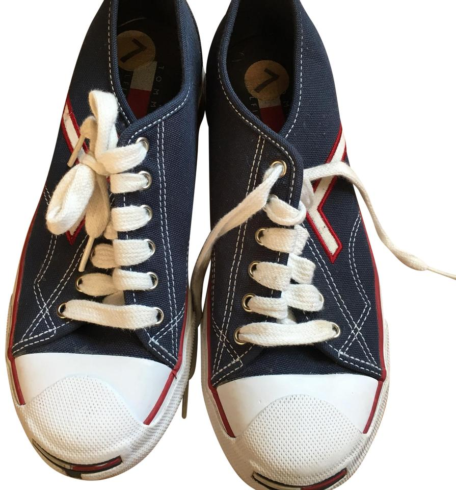 8ffd04881a2d67 Tommy Hilfiger Blue Red White Vtg Women 7m Canvas Sneakers Colorblock Flag 90 s  Sneakers