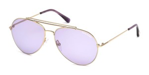 Tom Ford NEW Tom Ford Indiana TF497 28Y Purple Lens Gold Frame Aviators