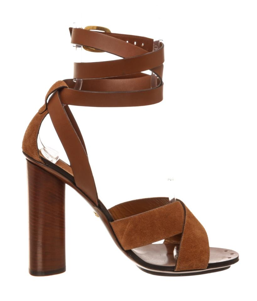 647cf7e2164 Gucci Brown Leather and Suede Candy Heels 38) 479332 Sandals Size EU ...
