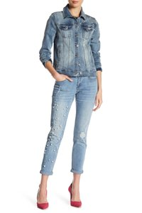 Nanette Lepore Pearl Embellished Beaded Girlfriend Rolled Cuff Relaxed Fit Jeans-Light Wash