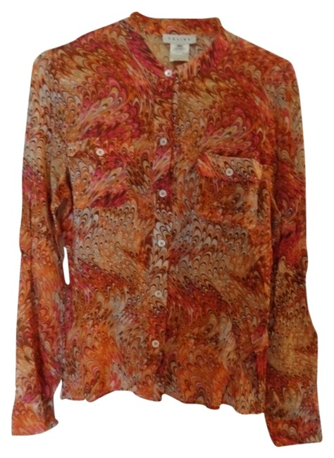 Item - Multi Color Made In Italy Bloue Button-down Top Size 6 (S)