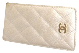 Chanel CHANEL Beige Caviar skin Carrying Case Cell phone case