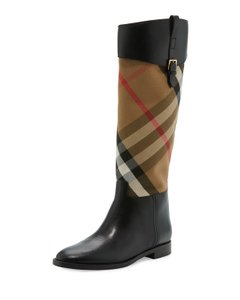 Burberry Leather Check Knee Classic Black Boots