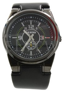 NEW Unlisted UL1094 Black Leather Strap Men's Watch
