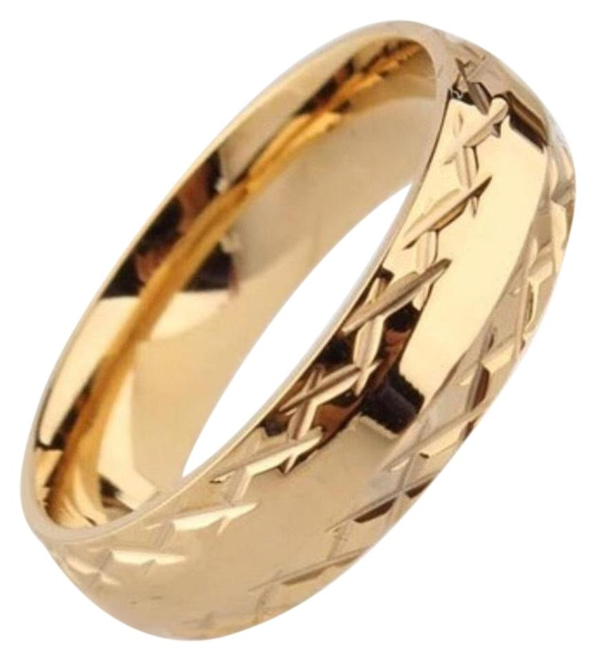 Gentlemanshop 6MM gold ring wedding rings for men women pattern stainless  steel couple jewelry ... 1bb793113371