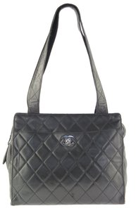 Chanel Lambskin Leather Tote in Dark Brown