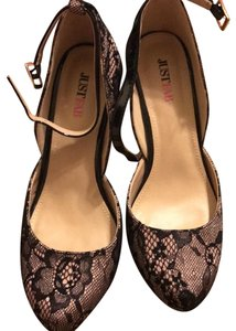 JustFab Black w light pink under lace Pumps