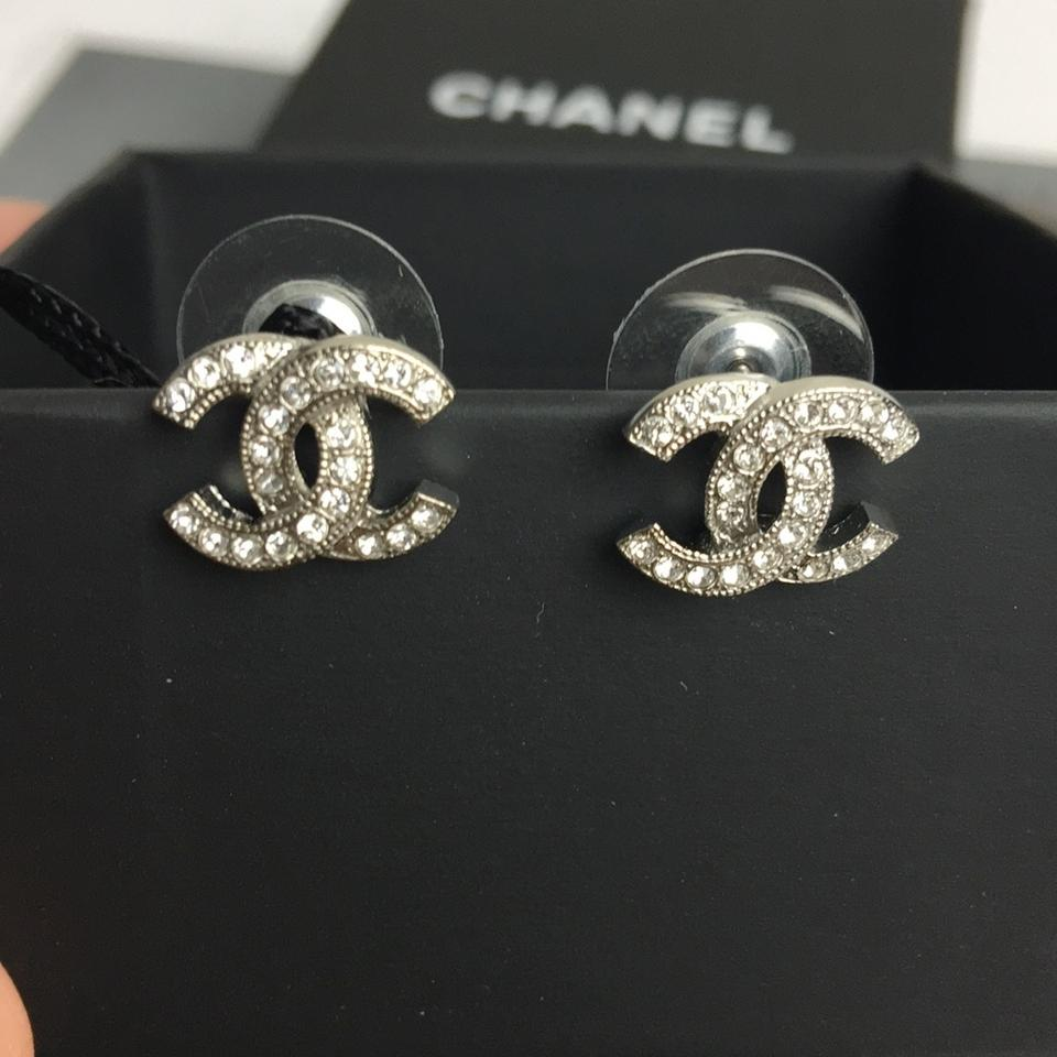 chanel silver classic timeless stud earrings tradesy