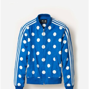 adidas Originals = Pharrell Williams Blue / white Leather Jacket