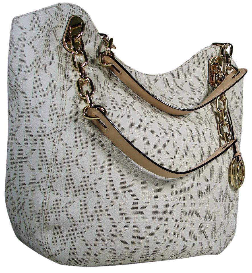 d2332c52e3c6 ... Michael Kors Monogram White Mk Chain Tote in Vanilla (Off-White) and  Beige MICHAEL KORS LILLY ...