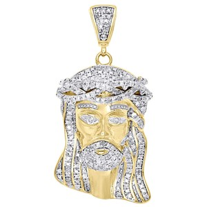 Jewelry For Less .925 Sterling Silver Mens Diamond Charm Jesus Face Pendant .50 CT.