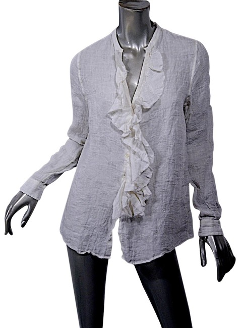 Item - White Shirtmakers 'anna Silvia' Ivory Linen Ruffle Front Blouse Size 10 (M)