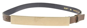 Nanette Lepore Olive Green Leather Elongated Plaque Belt, Size XS (3695)