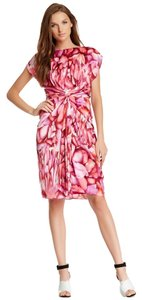 Badgley Mischka Party Floral Floral Printed Twisted Silk Dress