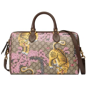 Gucci Women Tiger Boston Satchel in Beige/Pink
