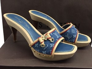 Louis Vuitton Lv Heal Sandal Blue Denim Platforms
