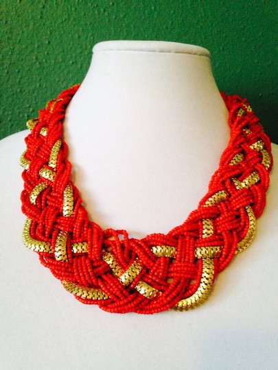 Other 2 Piece Set NWOT Orange Seed Bead & Chain Necklace & Faceted Earrings