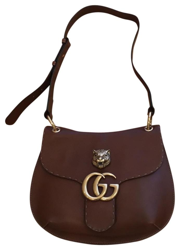 cb187e1bed00 Gucci Shoulder Marmont Animalier Gg Brown Calfskin Leather Hobo Bag ...