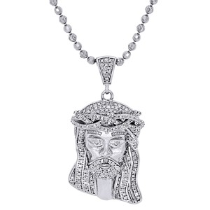 Jewelry For Less 925 Sterling Silver Diamond Jesus Face Pendant Charm & Chain 0.50 Ct.