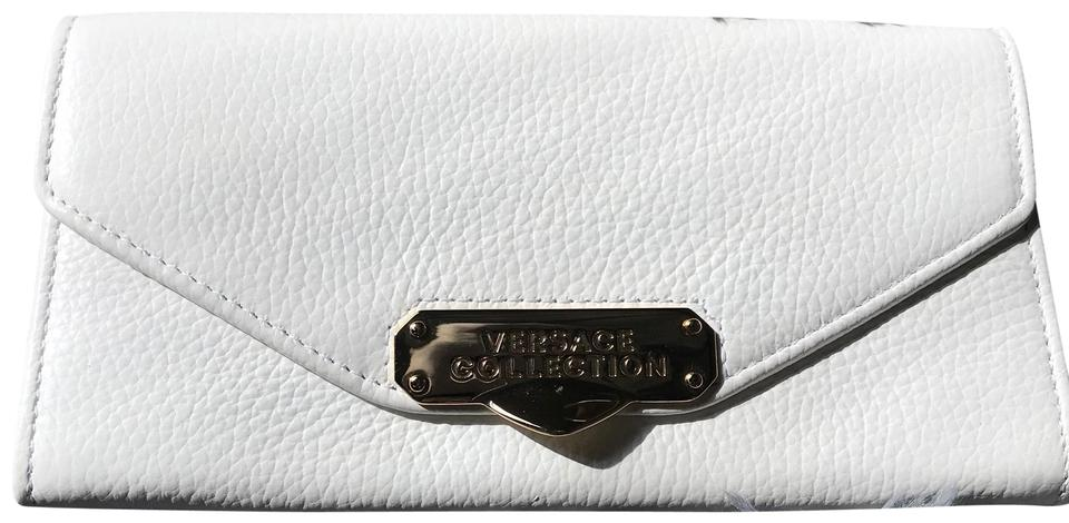 Versace Collection Oro Chiaro Chain Crossbody Handbag Rare Cream White  Leather Clutch a9029b8803b78