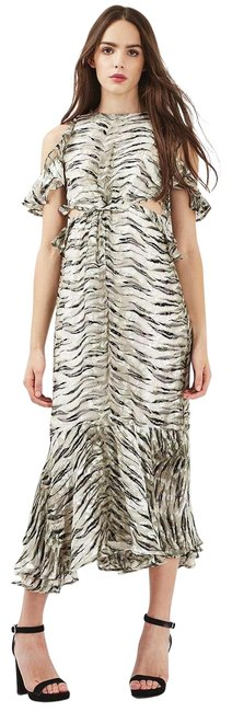 Item - Multicolor Cold-shoulder Animal-print Woven Mid-length Casual Maxi Dress Size 6 (S)