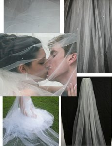 Scarlett Soft White Long Cathedral ~ Scattered Pearls ~ Perfect Condition Bridal Veil