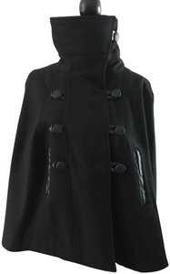 Yoki Detailed Faux Leather Trim. Trendy Cape